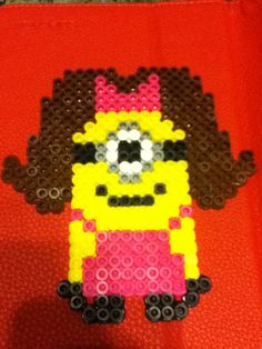 I made this girl minion... Despicable me!!! Perler bead craft