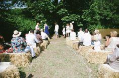 summer outdoor wedding, hay bale seating.  nik & chris | an eco-friendly, handmade coastal welsh wedding » Home
