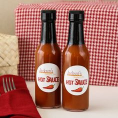 Personalized Hot Sauce Bottles - adult party, BBQ, rehearsal dinner, graduation (($))