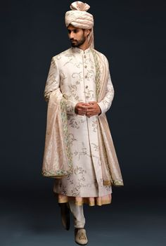 Ivory embroidered sherwani set by Gujralsons Indian Wedding Suits Men, Sherwani For Men Wedding, Sherwani Groom, Indian Wedding Couple, Indian Wedding Outfits, Bridal Outfits, Indian Outfits, Groom Outfit, Groom Attire