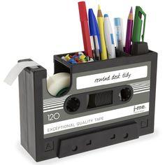 Klebefilmabroller und Stifteköcher Kassette - Rewind Desk Tidy - j-me #pen #pencil #holder #casette #sticky #tape