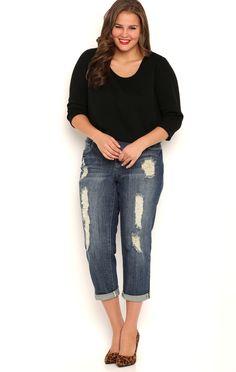 Plus Size Almost Famous Dark Wash Destructed Cropped Boyfriend Jeans