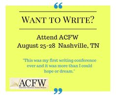 If you know anything about my writing, then you know that I attribute the fact that I have more than 20 books out with more in the works to ACFW and its conference. I have met all of the editors that I work with at the conference and have gained invaluable instruction on writing, marketing, and so much more.