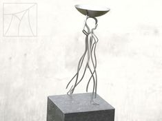Thread figure of an African woman carrying a basket. Made out of stainless steel, placed on bluestone pedestal. African Women, Marcel, Pedestal, Making Out, Craftsman, Basket, Stainless Steel, Woman, Table