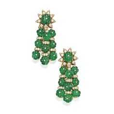 Pair of 18 Karat Gold, Emerald and Diamond Pendant-Earclips, Van Cleef & Arpels