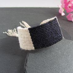 Hand Weaving, Textile Jewelry, Handmade Jewellery, Blue Cream, Sterling Silver, Midnight Blue, Cotton Linen, Sale Items, Cuff Bracelets