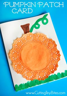or Halloween pumpkin patch card craft for preschool or elementary children. Simple materials, eFall or Halloween pumpkin patch card craft for preschool or elementary children. Simple materials, e Fall Pumpkin Crafts, Easy Fall Crafts, Halloween Crafts For Kids, Holiday Crafts, Spring Crafts, Thanksgiving Crafts For Kids, Halloween Activities, Halloween Ideas, Preschool Art Projects