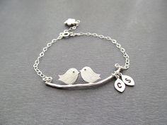 Engagement Gifts  LOVE BIRDS Bracelet by BlueDoveStudio on Etsy, $30.50