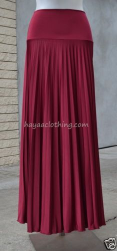 Cranberry Red Ripple Pleated Long Maxi Skirt Foldable Waist- Made in the USA
