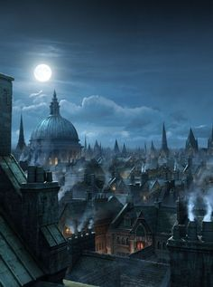 "[image] Title: London Rooftops, Matte Painting Name: Raphael Lacoste Country: Canada Software: max, Photoshop Hello there, I did this Matte Painting here at RodeoFX for Annie Leibovitz Disney Parks campaign ""Di… Fantasy City, Fantasy Places, Fantasy World, Fantasy Rooms, New Fantasy, Victorian London, London 1800, Matte Painting, London Underground"