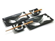 White Brush Stroke Sushi Set