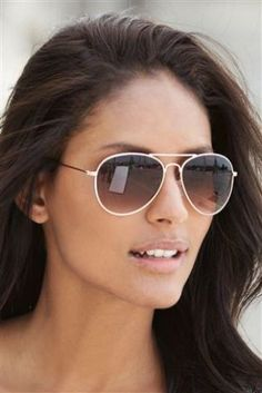 Gold Aviator Style Sunglasses from Next