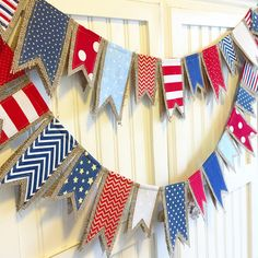"""Custom Length """"Red White & Blue"""" burlap banner bunting ~ of July, party… Fourth Of July Decor, 4th Of July Celebration, 4th Of July Decorations, 4th Of July Party, July 4th, 4th Of July Wreath, Patriotic Crafts, July Crafts, Summer Crafts"""