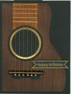Guitar card by MrsNemo - Cards and Paper Crafts at Splitcoaststampers Homemade Birthday Cards, Birthday Cards For Boys, Bday Cards, Happy Birthday Cards, Musical Cards, Guitar Gifts, Scrapbook Cards, Scrapbooking, Cards For Friends