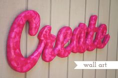 cute word art made with Styrofoam and tissue paper
