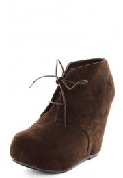 Debrah01n Suede Laced Wedge Booties BROWN ---I WOULD KILL FOR THESE