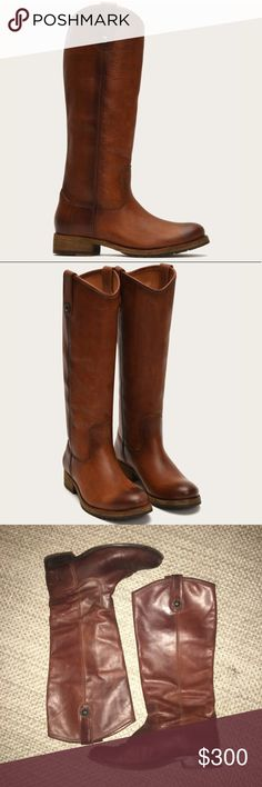 Frye Melissa Button Lug Tall Boots Deeper red/brown color than cover photo Antique/polished leather Frye Shoes Heeled Boots