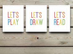 Playroom Decor, Playroom Wall Art, Playroom Prints, Let's Play, Let's Read, Let's Draw, Playroom Artwork, Kids Room Wall Art, Nursery Decor by…