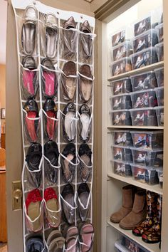 Commit to the one in, one out rule: Lorie Marrero creator of The Clutter Diet, Spokesperson for Goodwill Industries International and Ambassador for the Donate Movement turned one client's linen closet into a shoe closet. Now, it can fit no more than 57 pairs in clear plastic boxes and an over-the-door pocket organizer—no more, no less! Click through to find more easy closet organization ideas for a small space.