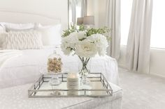 Interior Design for Real Life Glam Master Bedroom, Mirror Tray, All White, Table Decorations, House, Furniture, Home Decor, Decoration Home, Home