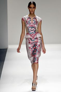 pink red grey kaleidescope op-art dress - bibhu mohapatra - spring 2013 rtw #nyfw