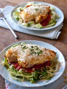 Baked Chicken Parmesan Over Zucchini Noodles. A healthy dinner recipe your family will love.