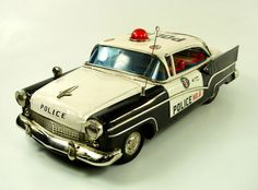 "1957 Ford 16"" Japanese Tin Police Car by Yonezawa NR"