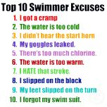 Your favorite swimming excuses you gave your coach on t-shirts & gifts