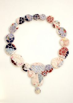 Mari Foster Jewelry: Restoration Necklace 1 - Damaged antique quilt, embroidery thread, metal hook & eye