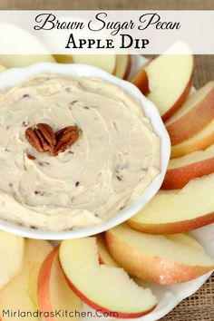 Brown Sugar Pecan Apple Dip is creamy with a sweet brown sugar flavor and crunchy pecans! It makes wonderful party food and is also great in sack lunches! It only takes three ingredients and five minutes to whip up. Food and Drinks Dessert Dips, Dessert Recipes, Dinner Dessert, Apple Recipes, Fall Recipes, Dip Recipes, Delicious Recipes, Healthy Recipes, Salsa Dulce