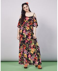 Simply Be Cold Shoulder Print Maxi Dress Plus Size Summer Fashion, Plus Size Summer Dresses, Casual Day Dresses, Plus Size Fashion For Women, Dressy Outfits, Summer Dresses For Women, Dress Summer, Summer Outfits, Fat Fashion