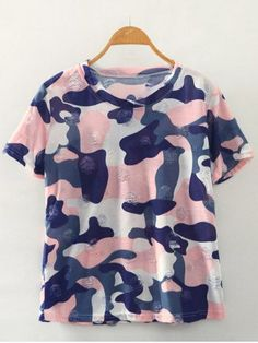 GET $50 NOW | Join RoseGal: Get YOUR $50 NOW!http://m.rosegal.com/t-shirts/simple-style-women-s-camouflage-print-ripped-short-sleeve-t-shirt-471874.html?seid=6990270rg471874