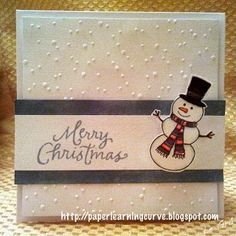 Christmas card using sizzix snowman & dot embossing folder