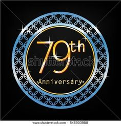 black background and blue circle 79th anniversary for business and various event