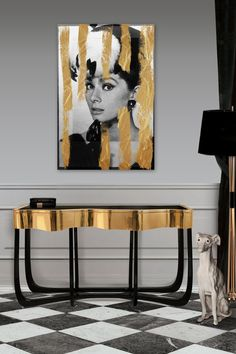 Stunning Black & Gold Console with equally stunning portrait.