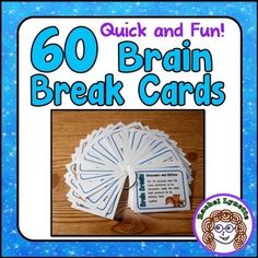 Each of these 60 brains breaks is not only super-fun, but also quick and easy! Everything you need is on the card. Just print, cut, and go. No gluing needed! These 60 brain breaks have been carefully selected and created to meet the following criteria: *** They all require students to get up out of their