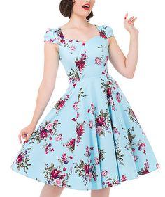 Look at this #zulilyfind! Light Blue Floral Cap-Sleeve Dress - Plus Too #zulilyfinds