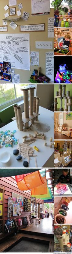 Reggio Emilia inspired classroom... Check out that brain web and documentation of the conversations...
