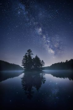 Night Sky stars lake dark