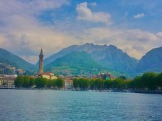 The distinctive mountain, Resegone and Lecco, as seen from Lake Como, Italy.