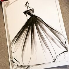 Sketch of the day: off-the-shoulder black organza gown. Sketch prints available online at ChristianSiriano.com #cssketch