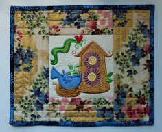 Patchwork quilted and embroidered candle mat by StephsQuilts