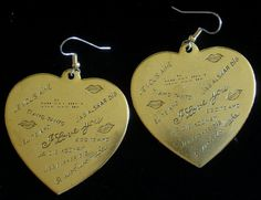 I Love You in Every Language Heart Earrings 24 Karat Gold Plate or Oxidized Matte Silver Large Valentine EG437 / ES427 by NostalgicCharm on Etsy