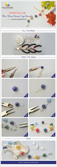 PandaHall Elite Craft Ideas: How to make colorful bracelet with beads and bead cages  #pandahallelite #craft #handmadebracelet #bracelet #beadcage #beads