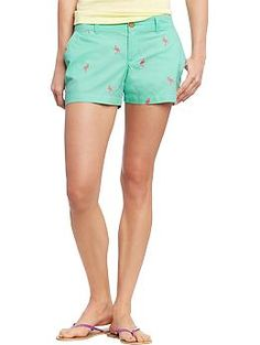 Womens Embroidered-Twill Shorts (3-1/2) OLD NAVY - on sale for $15.00  Y'all don't even know how much I want these.