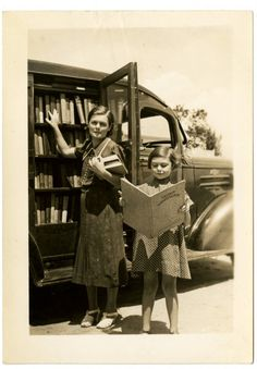 """Bookmobile: """"Rockingham Co Mrs Garrett Smith Sadler, N.C."""" (Public Library History Files, State Library of NC)North Carolina in the 1930s - Days Gone By"""