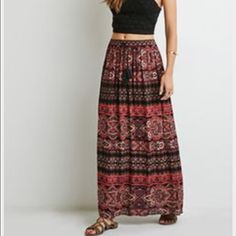 Boho Long Skirt  Coachella wear - boho look - like new - only work twice -elastic waist Forever 21 Skirts Maxi