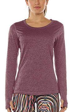 icyzone Damen Laufshirt Sport Training Langarm Shirt mit Daumenloch - Lerne Pilates Pilates Training, Sport Fitness, Shirts, Pullover, Long Sleeve, Sleeves, Sweaters, Cocktail, Tops