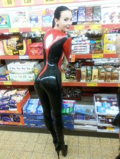 latex girl shopping