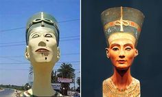 The case of the Frankenstein Nefertiti: it's time to revolt against ugly public art: As Egyptian protesters get a colossal – and colossally awful – sculpture of the ancient queen pulled down, we need to topple all the other art that's an insult to our public spaces. The recent grotesque bust of Nefertiti, left, and the great ancient version in Berlin's Neues Museum